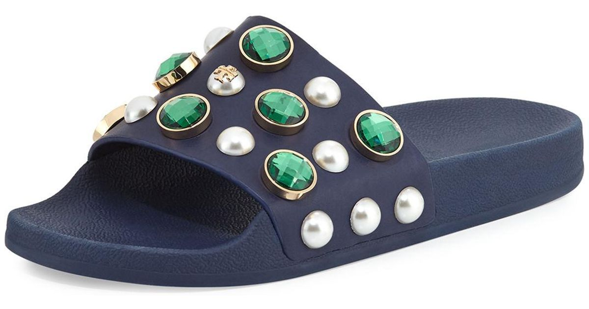 df8be334cf2b3 Lyst - Tory Burch Vail Jeweled Flat Slide Sandal in Blue