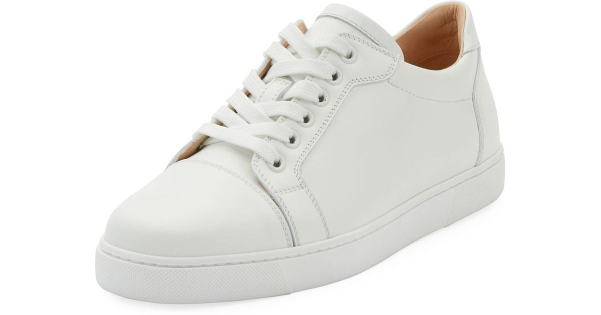 4e5aac44775a Lyst - Christian Louboutin Vieira Platform Red Sole Sneakers in White