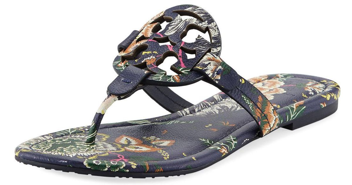 567813283a8 Lyst - Tory Burch Miller Medallion Floral-print Leather Flat Thong Sandals  in Blue