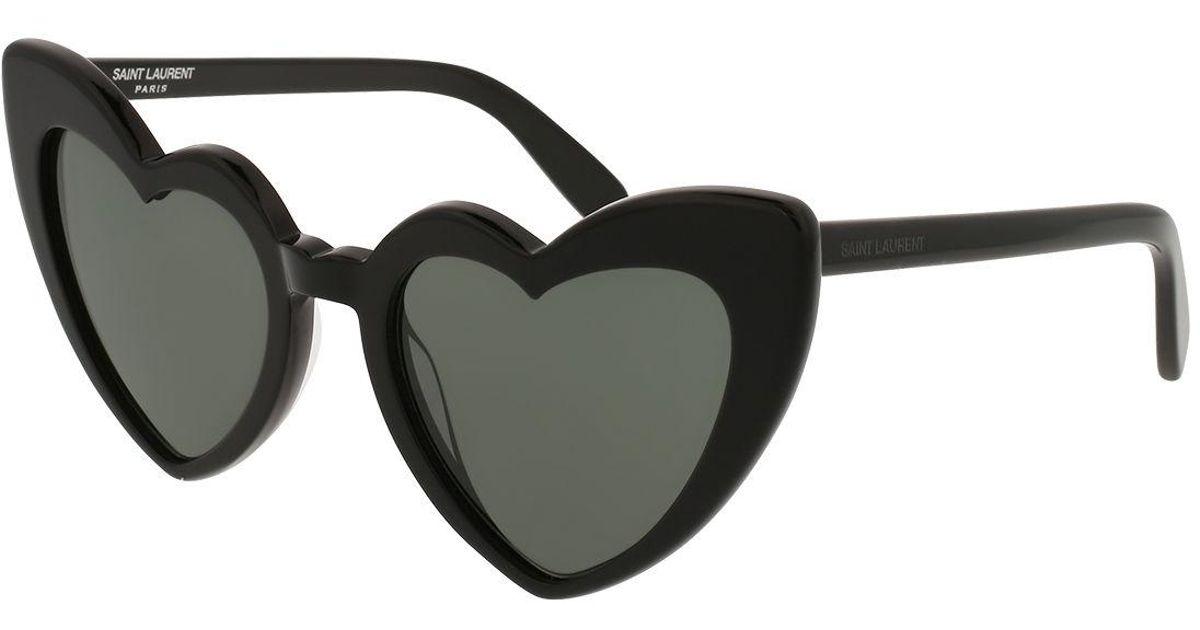 a66bcee1088 Lyst - Saint Laurent Lou Lou Oversized Heart Sunglasses in Black