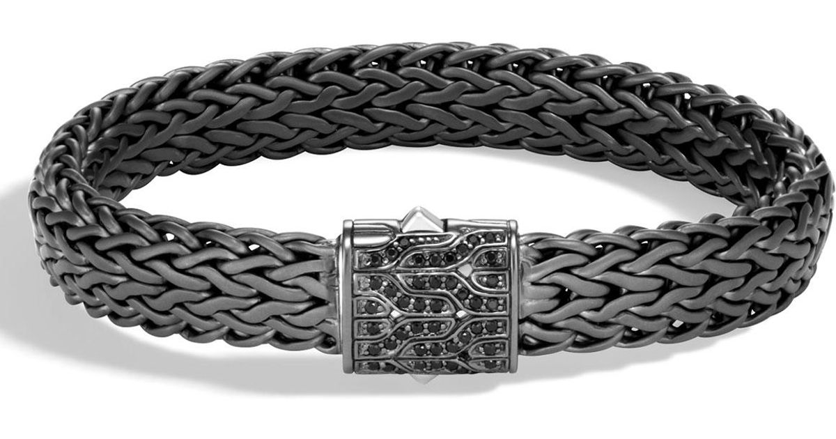John Hardy Mens Classic Chain Rhodium-Plated Bracelet with Black Sapphire MJ3CkGDs