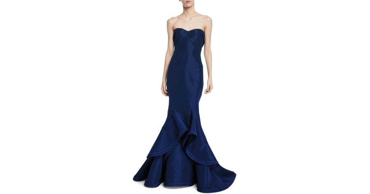 Lyst - Zac Posen Strapless Silk Faille Ruffle-hem Evening Gown in Blue