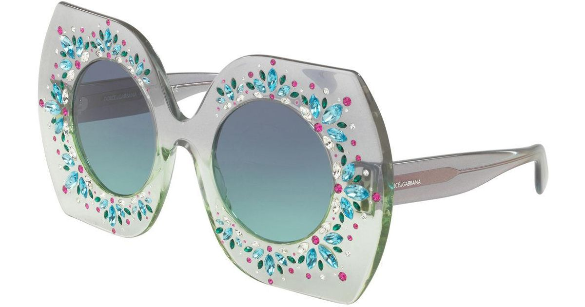 bb6f03a1908d Lyst - Dolce   Gabbana Embellished Round Sunglasses in Blue
