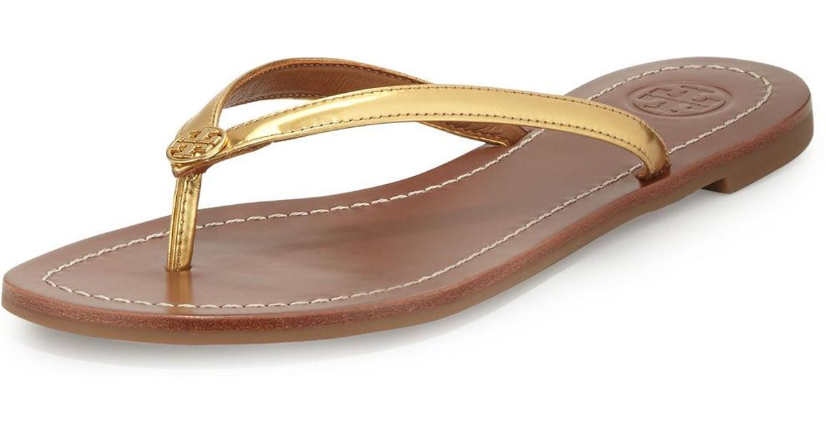 52fe03f7c38c Lyst - Tory Burch Terra Thong Sandal in Metallic