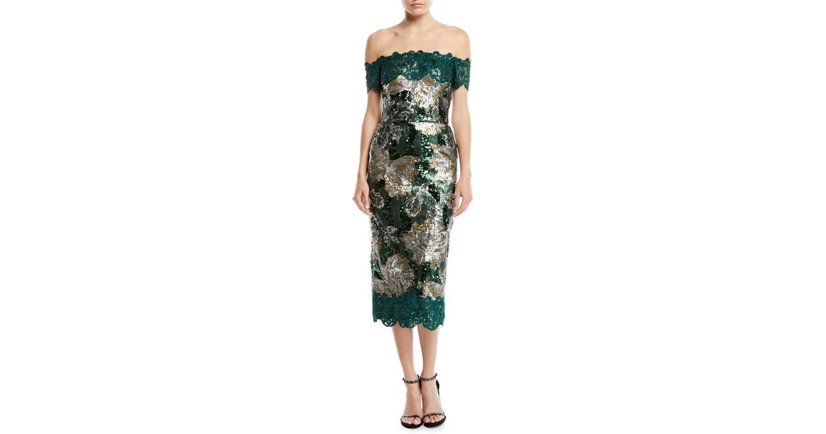 f367d30d92 Marchesa notte Off-the-shoulder Sequined Peony Cocktail Dress With Guipure  Lace Trim in Green - Lyst