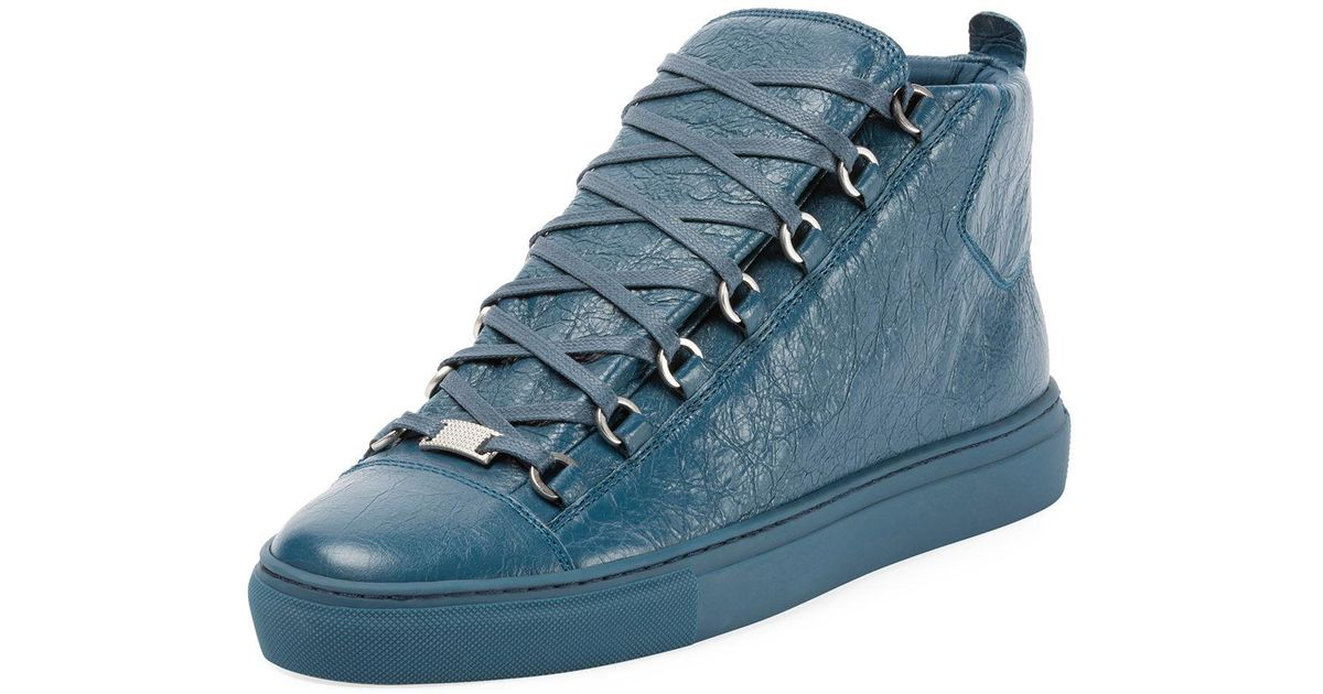 7fe3977452c38 Lyst - Balenciaga Men s Arena Leather Mid-top Sneakers in Blue for Men