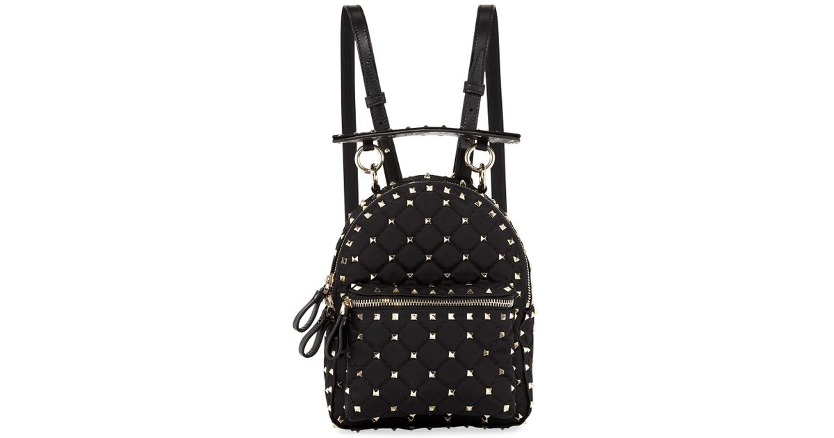 06e977d685 Lyst - Valentino Rockstud Spike Mini Nylon Backpack in Black