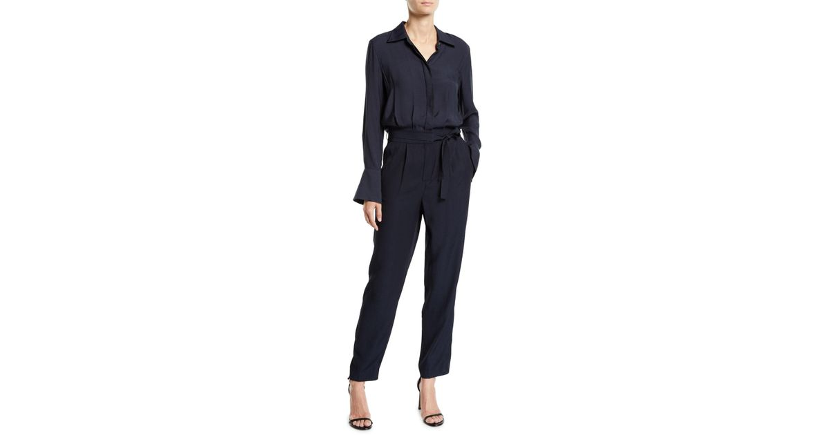 9b93bb78f8 Lyst - Equipment Andrea Button-front Long-sleeve Belted Jumpsuit W  Pockets  in Blue - Save 25%