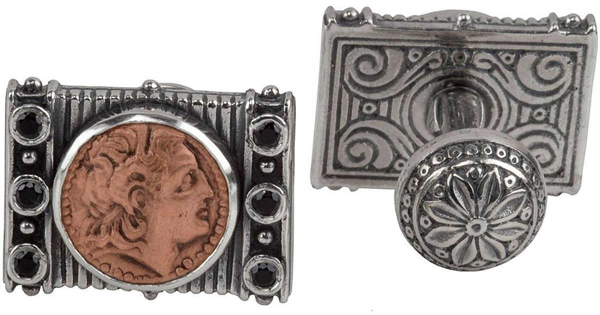 Konstantino Mens Sterling Silver & Copper Herakles Cuff Links w/Spinel Insets