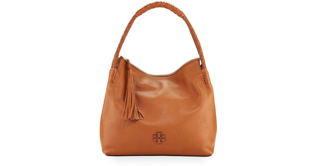 Lyst Tory Burch Taylor Pebbled Leather Zip Top Hobo Shoulder Bag In Brown