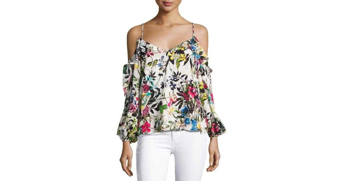 b4c4ce83609e19 Parker Clark Floral-print Cold-shoulder Blouse - Lyst