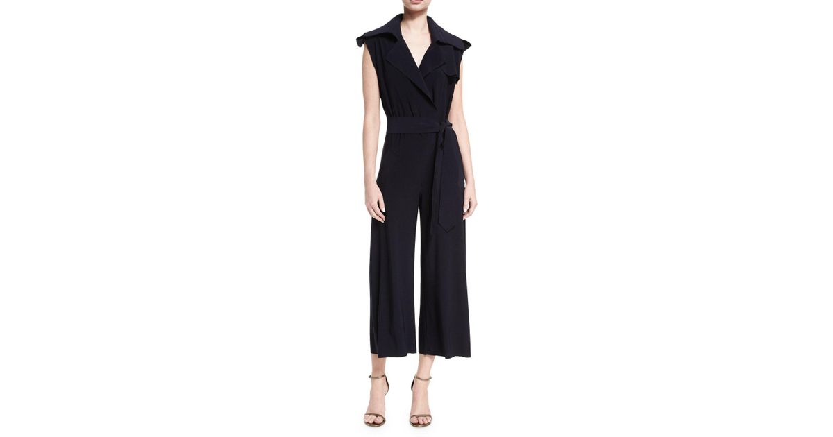 af55f3bd398 Lyst - Norma Kamali Sleeveless Double-breasted Trench Cropped Jumpsuit in  Blue