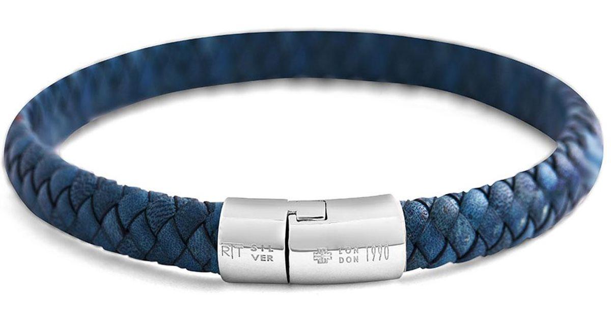 Tateossian Mens Classic Braided Leather Cobra Bracelet v58kBg0