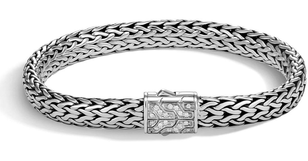John Hardy Mens Classic Chain Silver Diamond Pave Flat Chain Bracelet - Medium