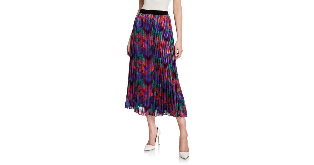 8732649d10 Ba&sh Paolo Pleated Chevron Midi Skirt in Blue - Lyst