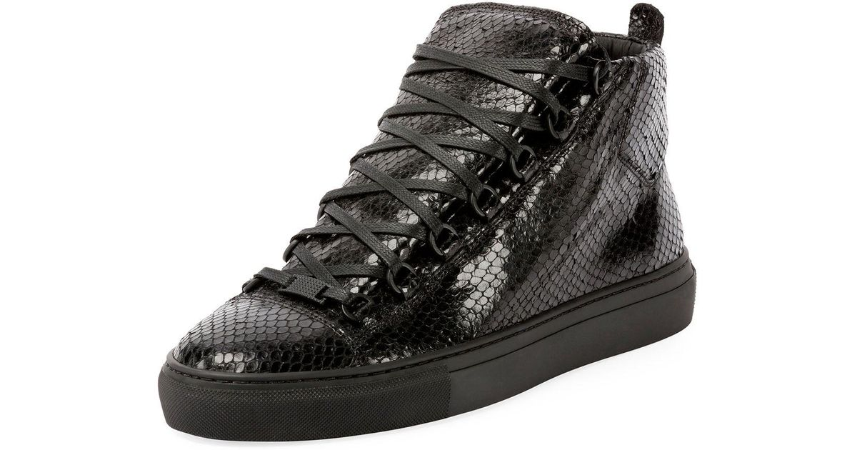 8b8a5df0f8890 ... Lyst - Balenciaga Men s Arena Faux-python Leather High-top Sneaker in  Black for ...