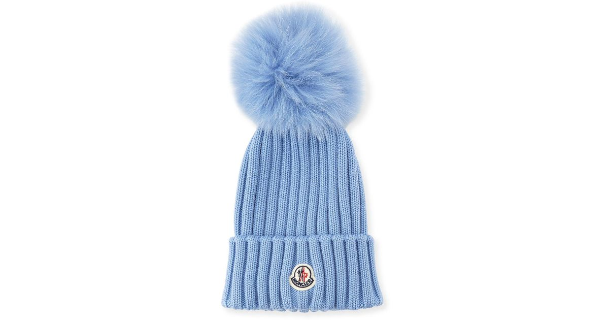 3e71c6bce Lyst - Moncler Ribbed-knit Beanie Hat W fur Pompom in Blue