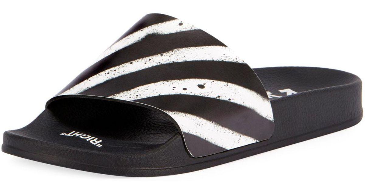 0d68f13d2 Off-White c/o Virgil Abloh Spray Striped Slide Sandal in Black for Men -  Lyst