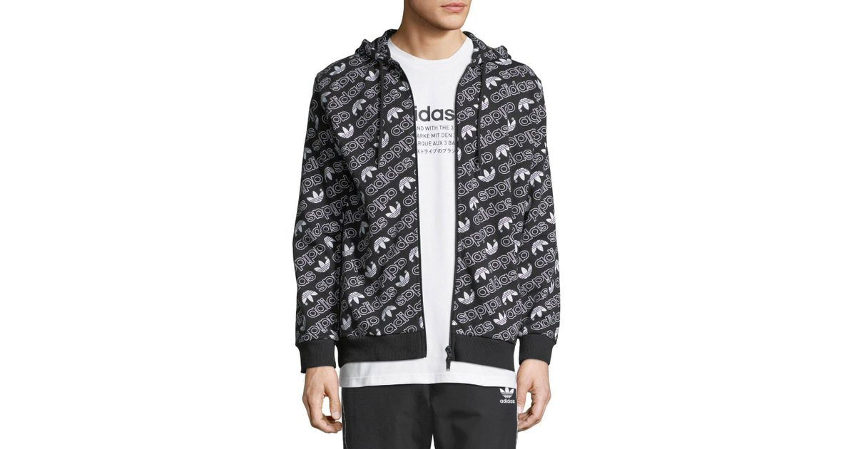 8f1eba366db8 Lyst - adidas Logo-print Hooded Windbreaker in Black for Men