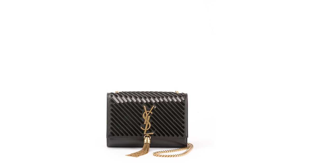 56f088f2a79 Lyst - Saint Laurent Kate Small Tassel Crossbody Bag With Diagonal Sequins  in Black