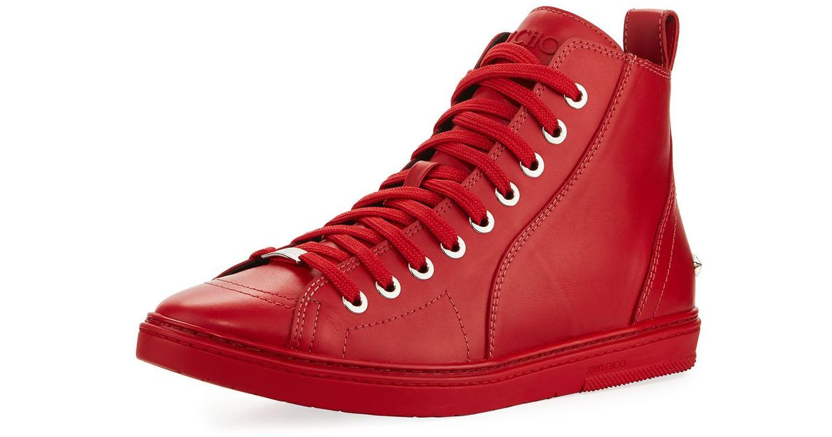 f296fc7b77d Lyst - Jimmy Choo Colt Men s Leather High-top Sneaker in Red for Men