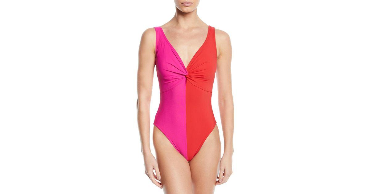 0672e99d77c Lyst - Karla Colletto Sorella Colorblock V-neck Underwire One-piece Swimsuit
