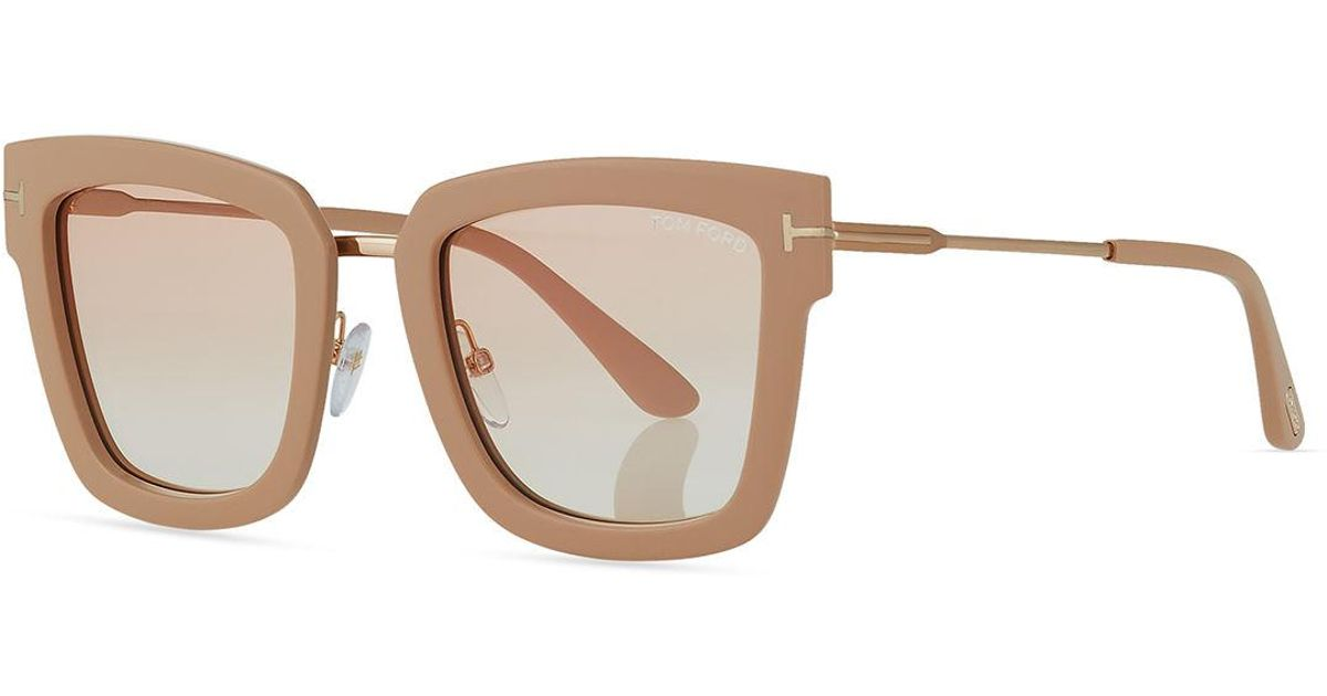 8e92043c4e Lyst - Tom Ford Lara Acetate   Metal Square Sunglasses in Brown