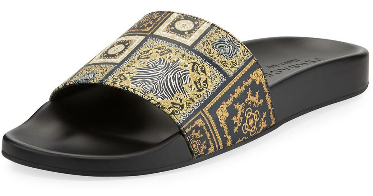 6191b04556e8d8 Lyst - Versace Men s Baroque Tile Signature Slide Sandal for Men