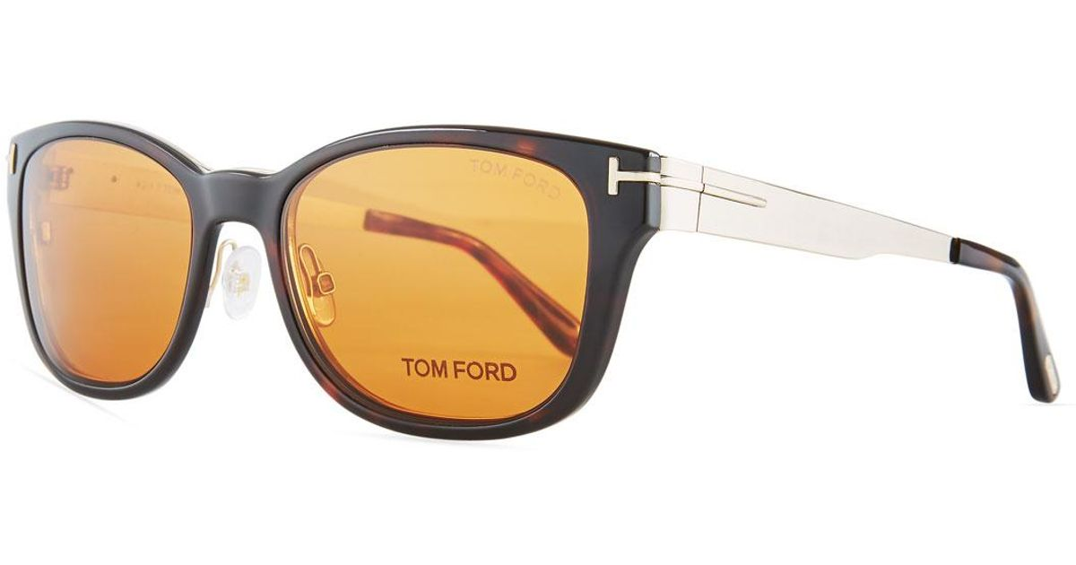 Lyst - Tom Ford Soft Square Plastic/metal Glasses W/ Clip-on Sun ...