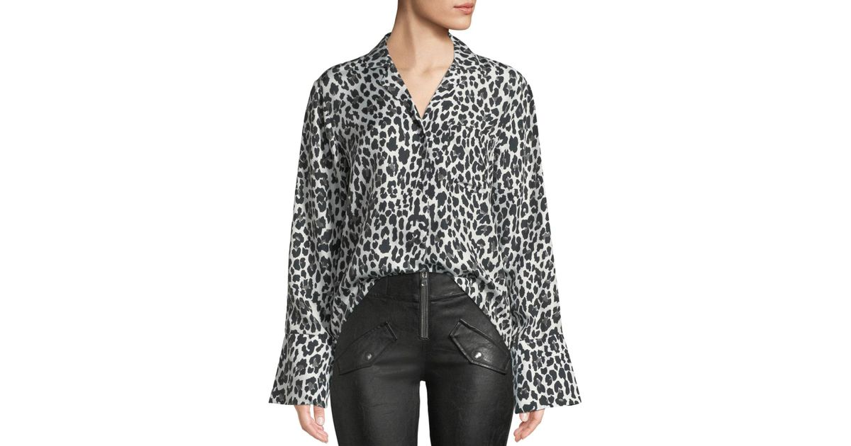 a8db3b3dce54 Lyst - RTA Yvonne Button-down Leopard-print Silk Blouse in Black
