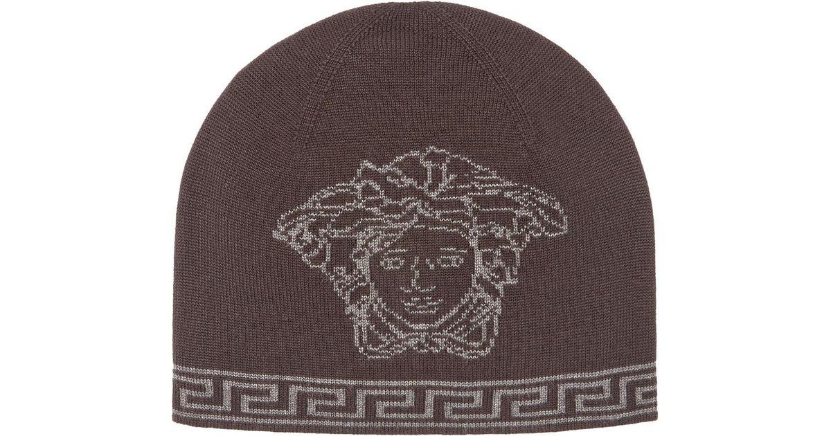 Lyst - Versace Men s Medusa Logo Intarsia Beanie Hat in Black for Men fadbc1e53a8
