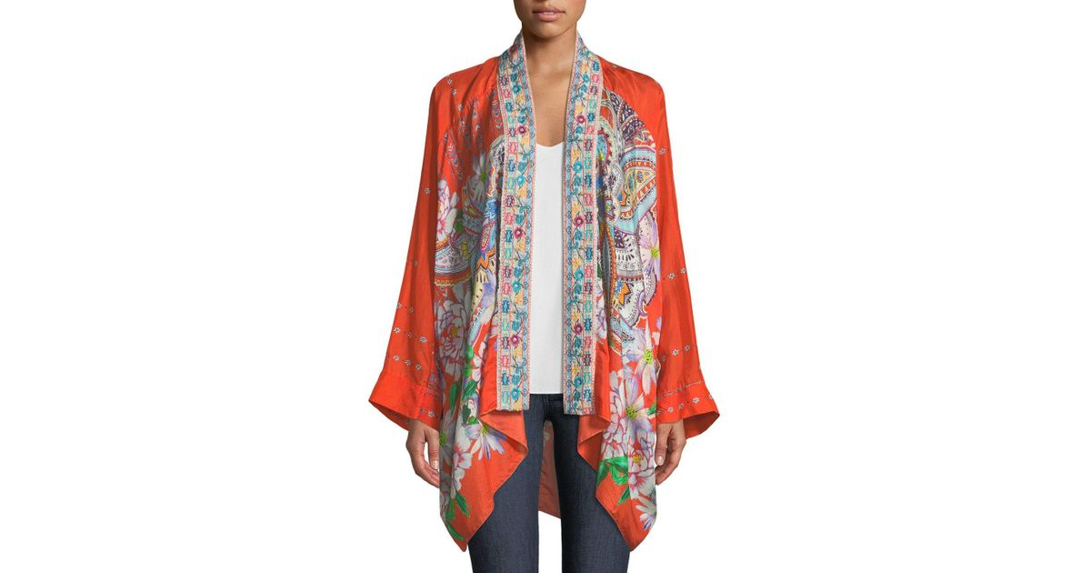 2dad31262028f Lyst - Johnny Was Summer Paisley Kimono in Red