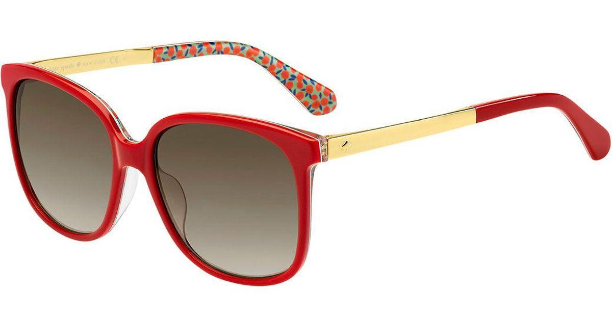 67c02a554e2 Lyst - Kate Spade Mackenzee Square Sunglasses in Red