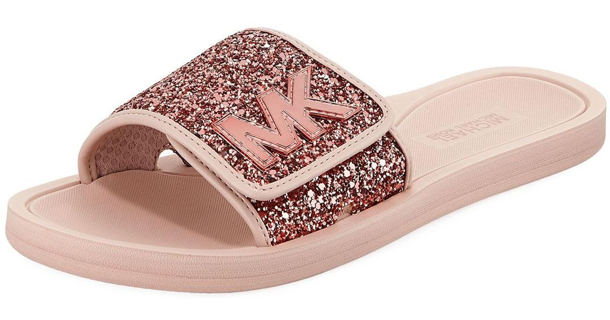 f12c87ea54ec Lyst - MICHAEL Michael Kors Mk Glitter Slide Sandal in Pink