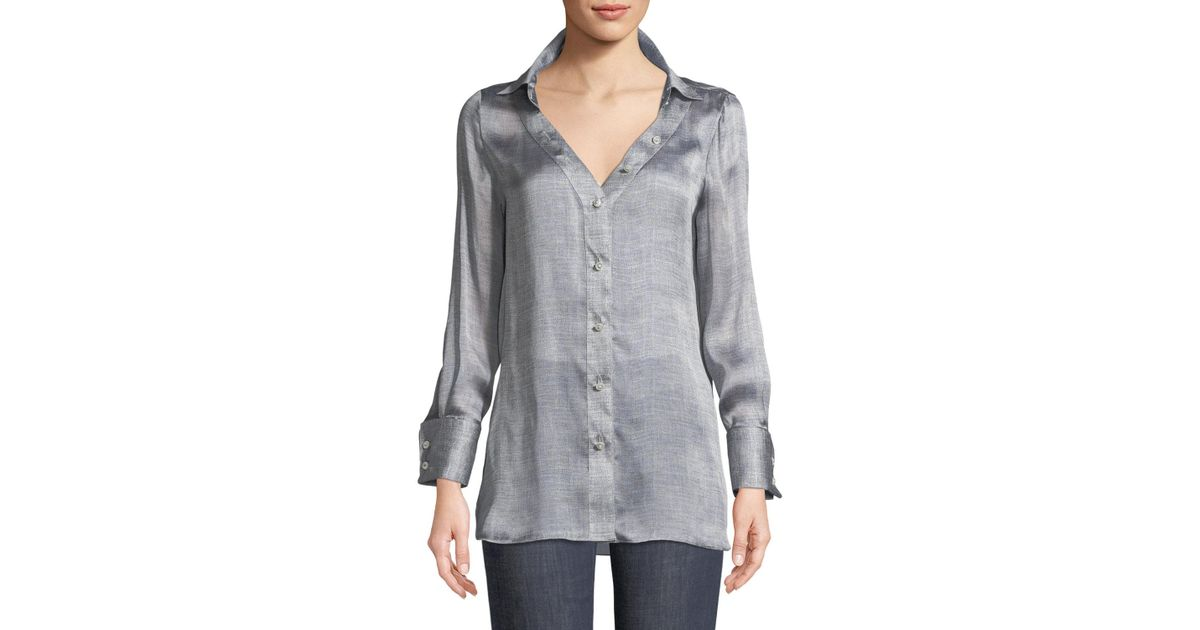 55ec4224d0f16 Lyst - Giorgio Armani Long-sleeve Button-front Mulberry Silk Blouse in Gray