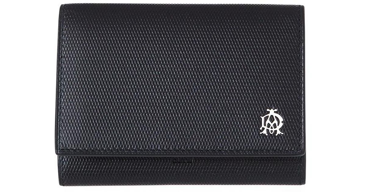 Lyst - Dunhill Engine Turn Business Card Case in Black for Men