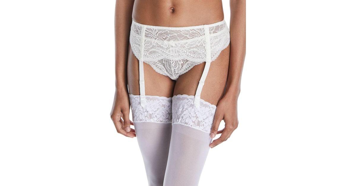 0773cb83560 Lyst - Simone Perele Eden Lace Suspenders Garter Belt in White