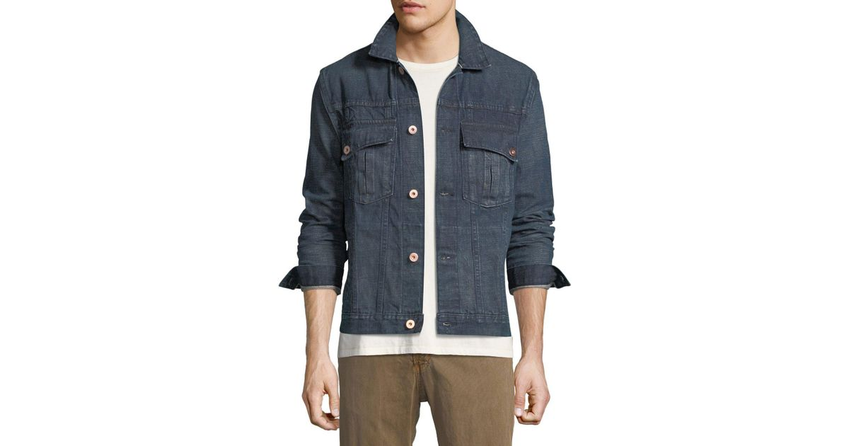 3bcbee41a7 Billy Reid Clayton Selvedge Denim Jacket in Blue for Men - Lyst