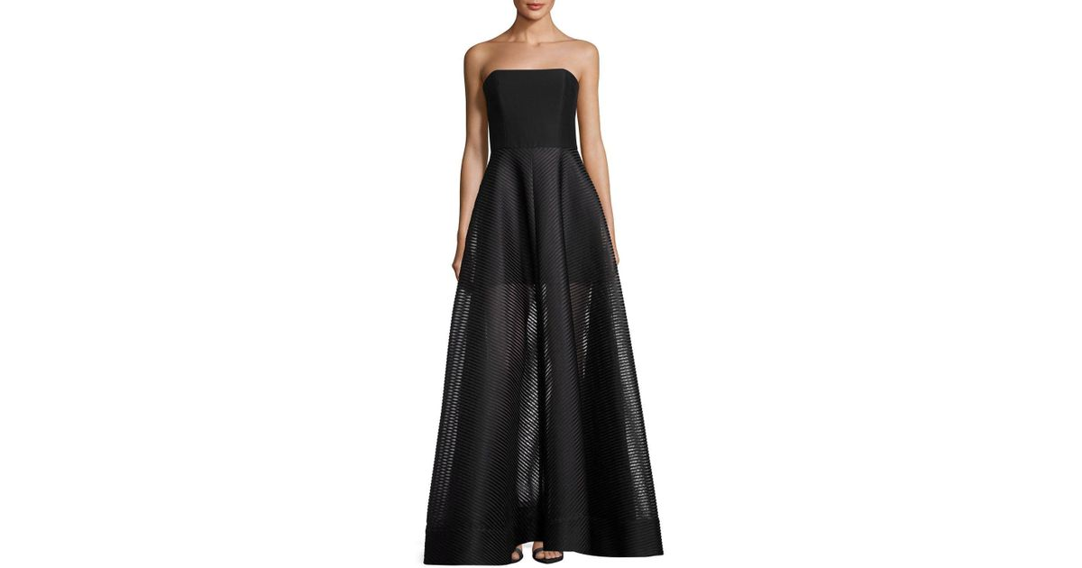 a8e198e4417a Halston Strapless Evening Gown W/ Sheer Striped Skirt in Black - Lyst