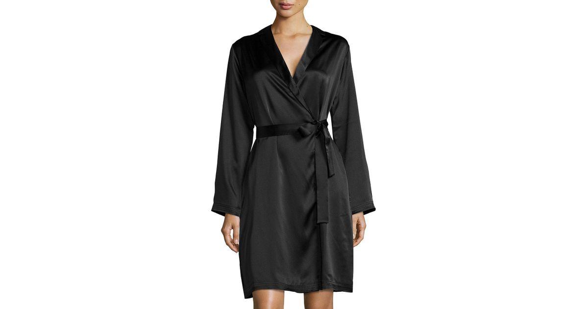 La Perla - Black Silk Long-sleeve Short Robe - Lyst 14c057b1c