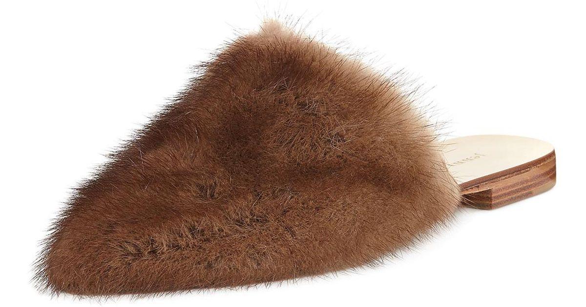 f4bda20557e Lyst - Jenni Kayne Flat Mink Fur Slide Mule in Brown