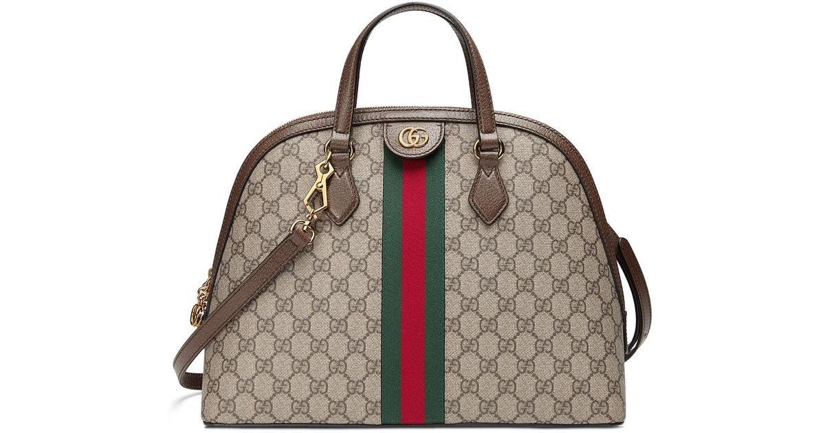3826f01b637140 Gucci Beige Ophidia GG Medium Top Handle Bag in Brown - Save 5% - Lyst
