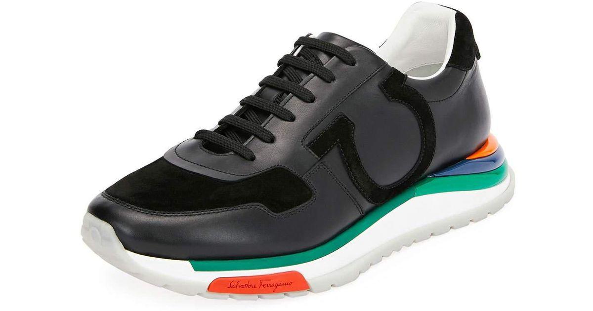 44632a6a157 Lyst - Ferragamo Men s Brooklyn Sneakers W  Rainbow Sole in Black for Men -  Save 30%
