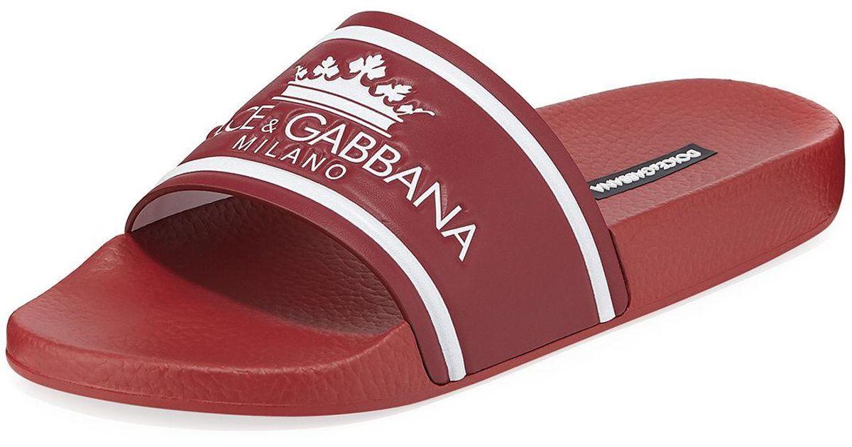 a6d05b5c3 Lyst - Dolce   Gabbana Men s Crown Logo Slide Sandals in Red for Men