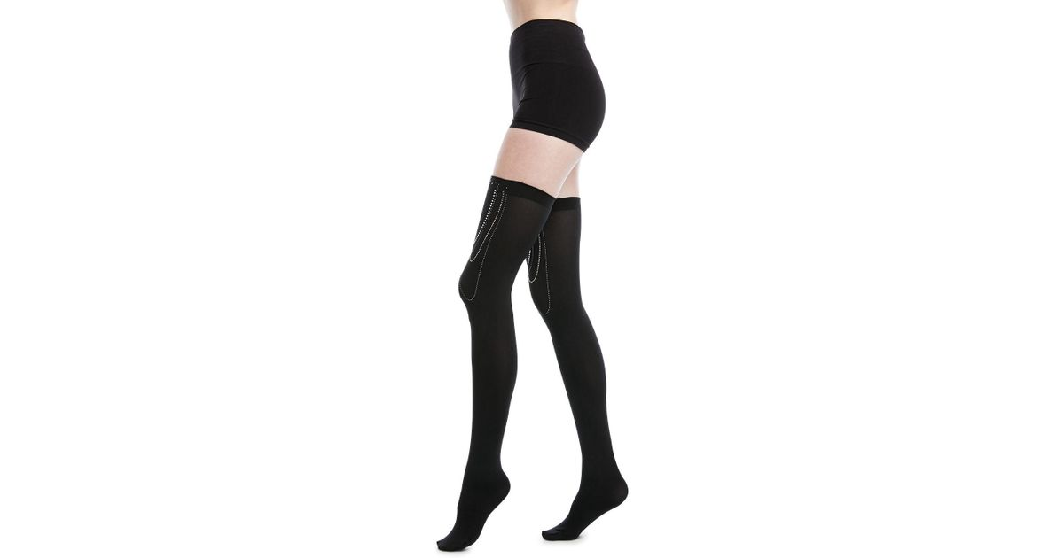 b93301c8f Lyst - Wolford Jewel-embellished Stay-up Thigh-highs in Black