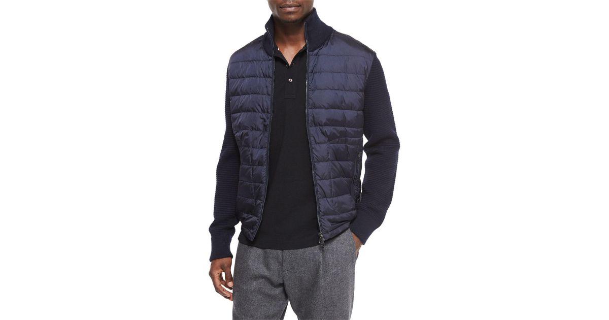da5700ea1c21 Lyst - Moncler Mixed Media Quilted Jacket in Blue for Men