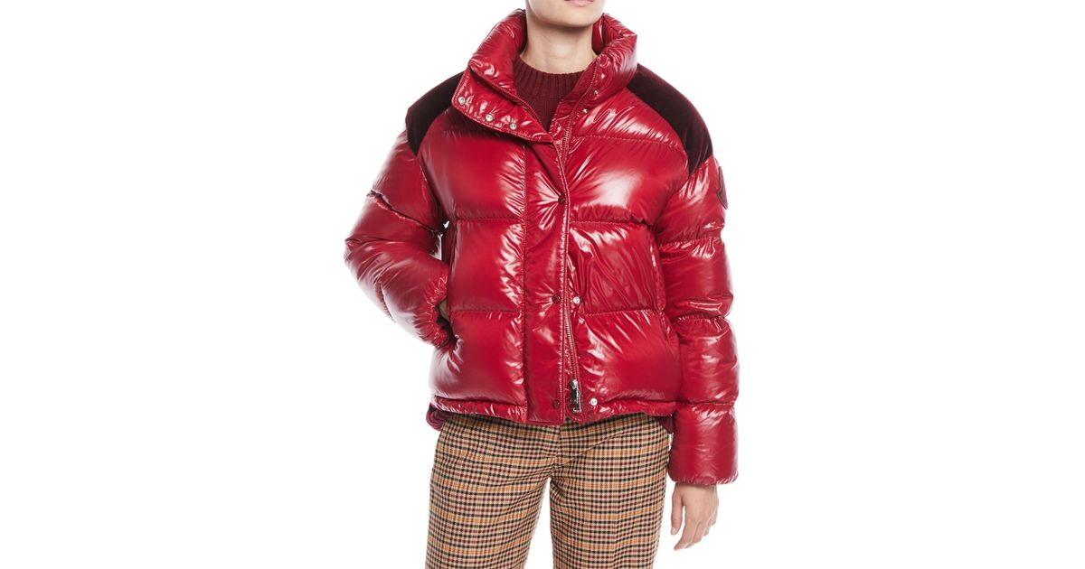 c3f2be7f1d0 Moncler Genius Chouette Puffer Jacket W/ Contrast Shoulders in Red - Lyst