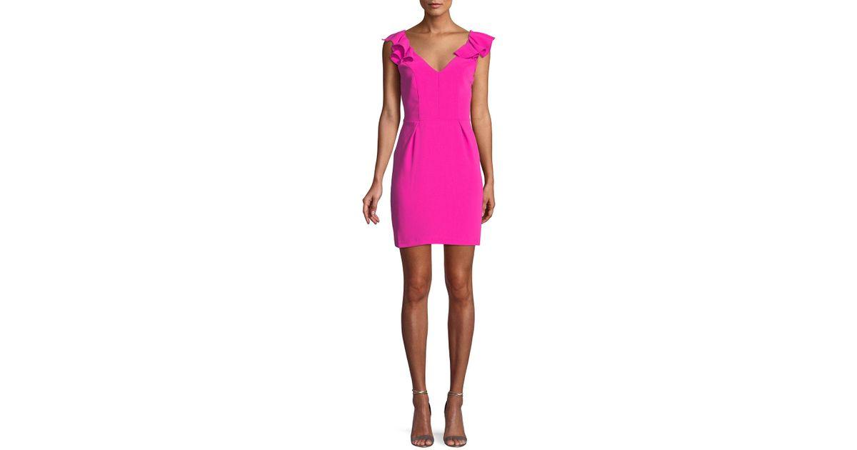 09004c643b47 Lyst - Amanda Uprichard Gimlet Sleeveless Ruffle Mini Dress in Pink