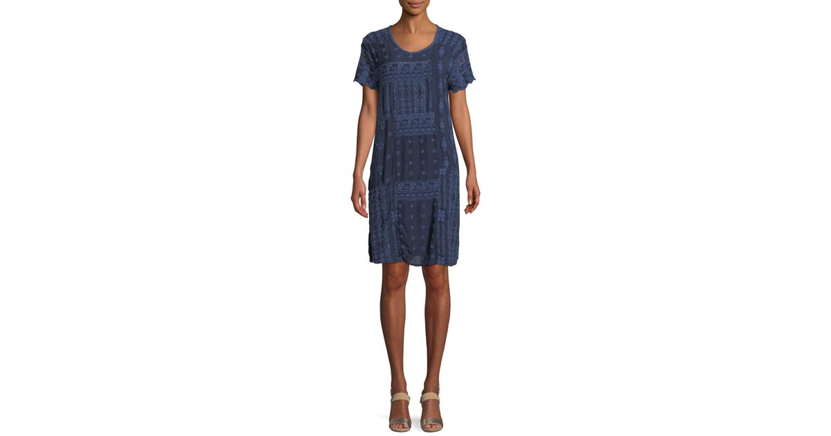 46d5cea6f051 Johnny Was Plus Size Mixed Berry Georgette Short-sleeve Shift Dress in Blue  - Save 19% - Lyst