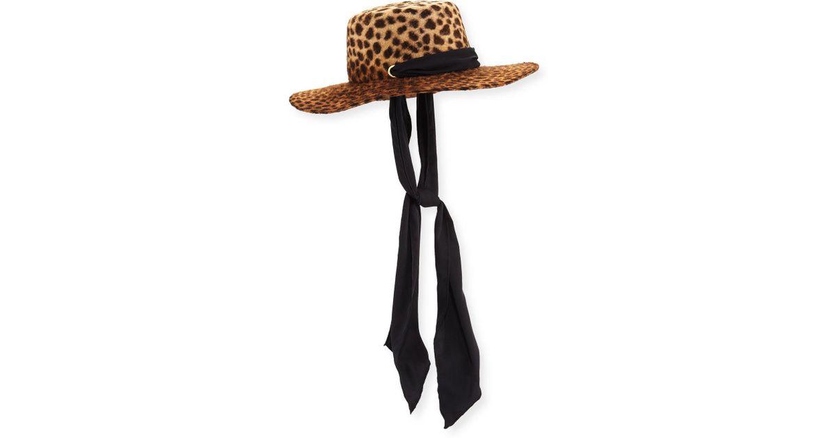 Lyst - Gladys Tamez Millinery Verushka Leopard-print Felt Hat W  Silk Chin  Tie in Black c069bf6d207